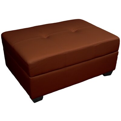 Grace Storage Ottoman Upholstery: Leather Look Saddle Brown