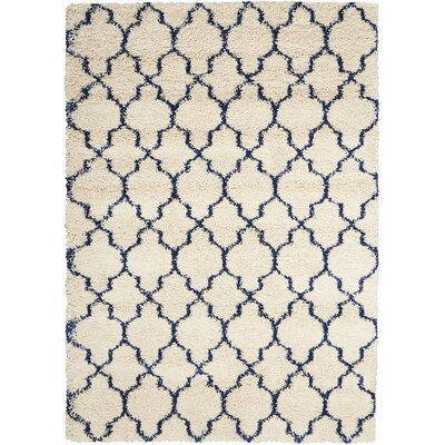 Linton Ivory/Blue Area Rug Rug Size: Rectangle 53 x 75