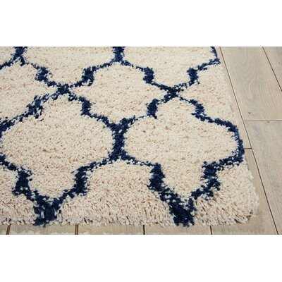 Linton Ivory/Blue Area Rug Rug Size: Square 67