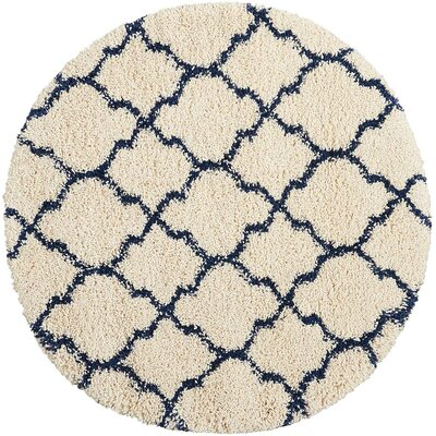 Linton Ivory/Blue Area Rug Rug Size: Round 7 x 10