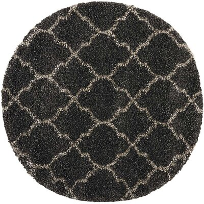 Linton Charcoal Area Rug Rug Size: Round 710