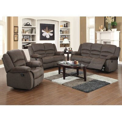 Maxine 3 Piece Recliner Sofa Set Upholstery: Brown