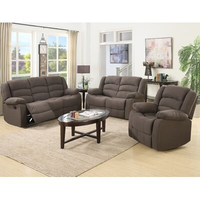 Mayflower 3 Piece Recliner Sofa Set Upholstery: Brown