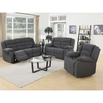 Mayflower 3 Piece Recliner Sofa Set Upholstery: Blue Gray