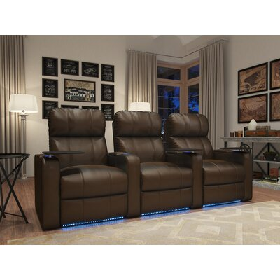 Home Theater Recliner (Row of 3) Upholstery: Brown
