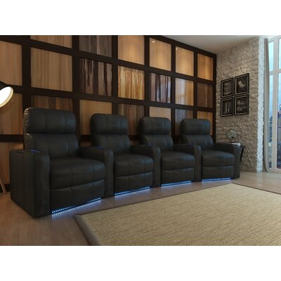 Home Theater Recliner (Row of 4) Upholstery: Black