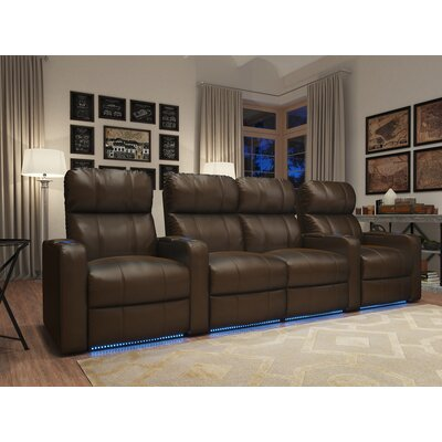 Home Theater Loveseat (Row of 4) Upholstery: Brown
