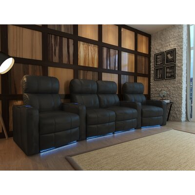 Home Theater Loveseat (Row of 4) Upholstery: Black