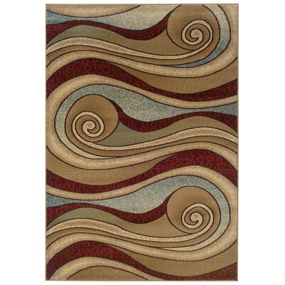 Meriwether Swirling Brown/Blue Area Rug Rug Size: 53 x 75