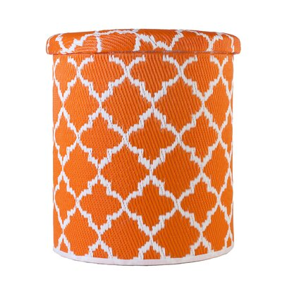 Merle Storage Ottoman Upholstery: Carrot/White