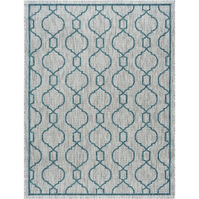 Ford Transitional Teal Indoor/Outdoor Area Rug Rug Size: Rectangle 53 x 73