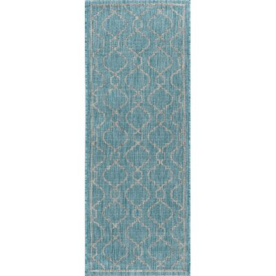 Ford Transitional Aqua Indoor/Outdoor Area Rug Rug Size: Runner 27 x 73