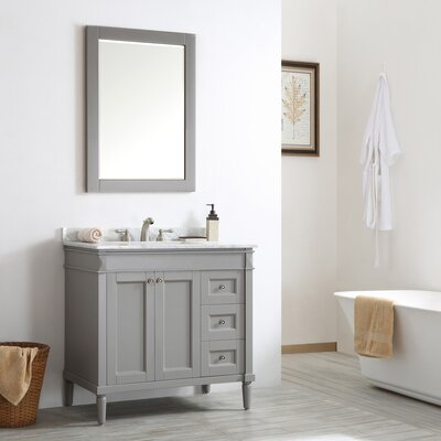 Morris 36 Single Vanity Set with Mirror Base Finish: Grey