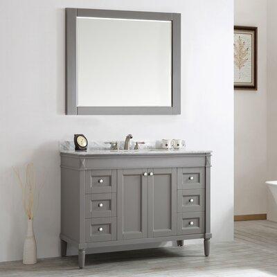 Morris 48 Single Vanity Set with Mirror Base Finish: Grey