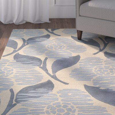 Roseland Hand-Tufted Wool Beige/Blue Area Rug Rug Size: Rectangle 36 x 56