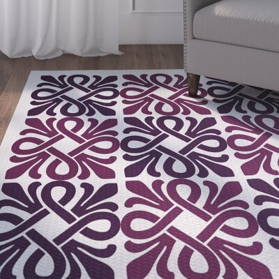 Selina Purple/White Indoor/Outdoor Area Rug Rug Size: 5 x 7
