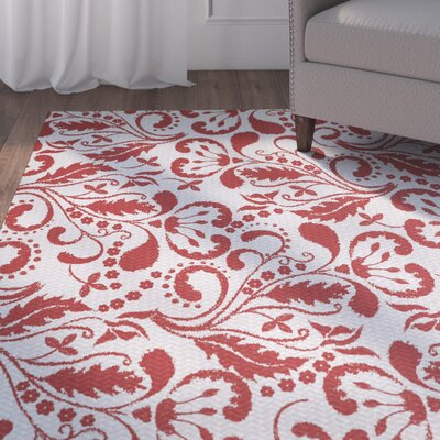 Rushton Red Indoor/Outdoor Area Rug Rug Size: 3 x 5