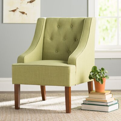 Crandall Tufted Swoop Armchair Finish: Light Walnut, Upholstery: Garden Green