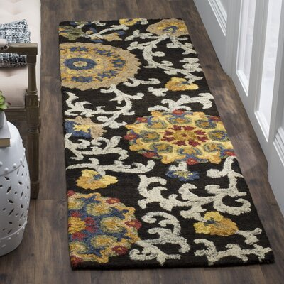 Mudoch Hand-Tufted Wool Charcoal Area Rug Rug Size: Runner 23 x 8