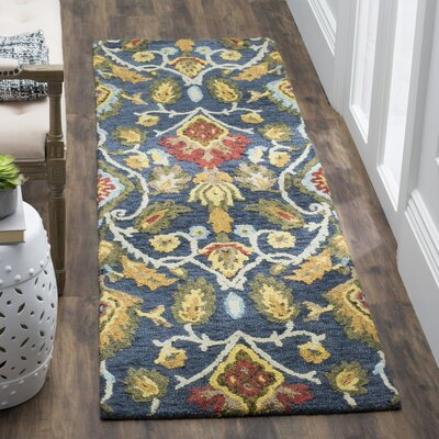 Abrahamic Hand-Tufted Navy Area Rug Rug Size: Runner 23 x 8