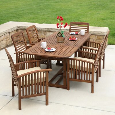 Ascencio 7 Piece Dining Set with Cushion Finish: Dark Brown