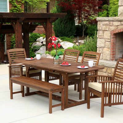 Last Frontier 6 Piece Dining Set with Cushion Finish: Dark Brown