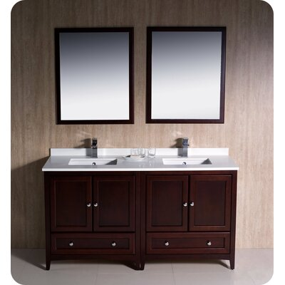 Oxford 60 Double Traditional Bathroom Vanity Set with Mirrors Base Finish: Mahogany