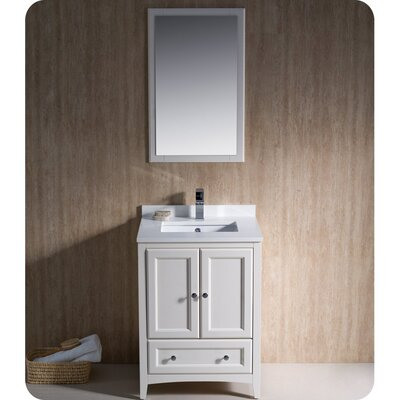 Oxford 24 Single Traditional Bathroom Vanity Set with Mirror Base Finish: Antique White
