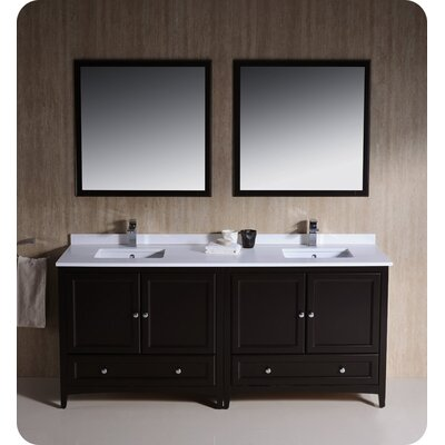 Oxford 72 Double Traditional Bathroom Vanity Set with Mirrors Base Finish: Espresso