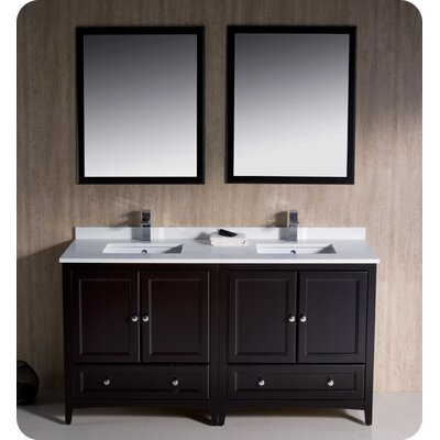 Oxford 60 Double Traditional Bathroom Vanity Set with Mirrors Base Finish: Espresso