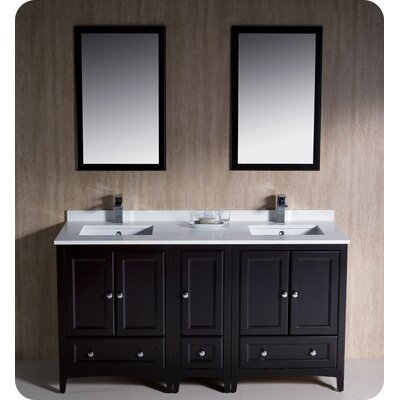 Oxford 60 Double Traditional Bathroom Vanity Set with Mirror Base Finish: Espresso