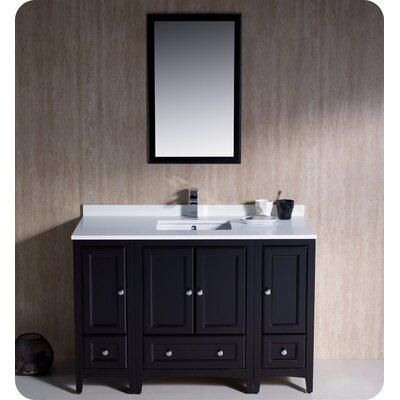 Oxford 48 Single Traditional Bathroom Vanity Set with Mirror Base Finish: Espresso