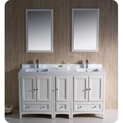 Oxford 60 Double Traditional Bathroom Vanity Set with Mirror Base Finish: Antique White