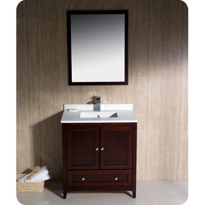 Oxford 30 Single Traditional Bathroom Vanity Set with Mirror Base Finish: Mahogany