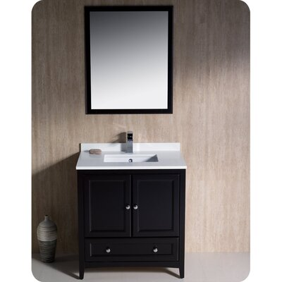 Oxford 30 Single Traditional Bathroom Vanity Set with Mirror Base Finish: Espresso