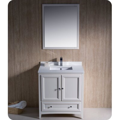 Oxford 30 Single Traditional Bathroom Vanity Set with Mirror Base Finish: Antique White