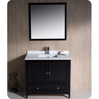 Oxford 36 Single Traditional Bathroom Vanity Set with Mirror Base Finish: Espresso
