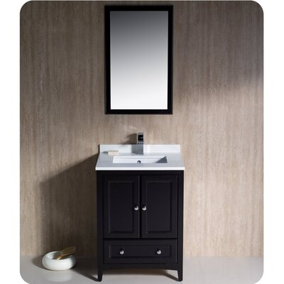Oxford 24 Single Traditional Bathroom Vanity Set with Mirror Base Finish: Espresso