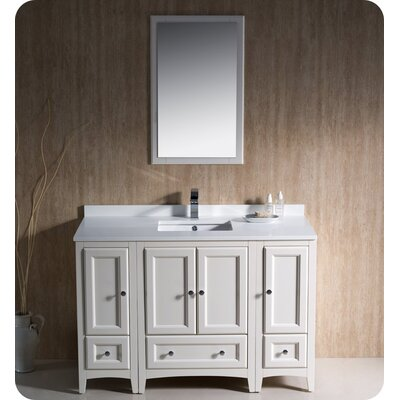 Oxford 48 Single Traditional Bathroom Vanity Set with Mirror Base Finish: Antique White