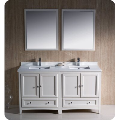 Oxford 60 Double Traditional Bathroom Vanity Set with Mirrors Base Finish: Antique White