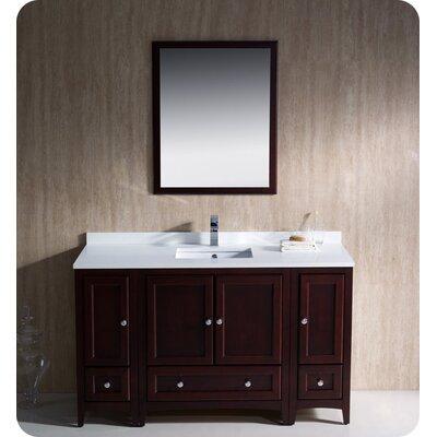 Oxford 54 Single Traditional Bathroom Vanity Set with Mirror Base Finish: Mahogany