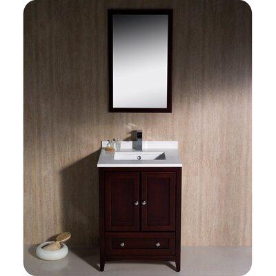 Oxford 24 Single Traditional Bathroom Vanity Set with Mirror Base Finish: Mahogany