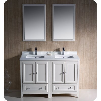 Oxford Traditional 48 Double Bathroom Vanity Set with Mirror Base Finish: Antique White