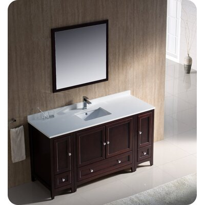Oxford 60 Single Traditional Bathroom Vanity Set with Mirror Base Finish: Mahogany