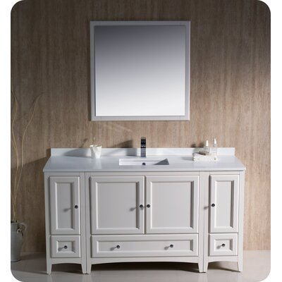 Oxford 60 Single Traditional Bathroom Vanity Set with Mirror Base Finish: Antique White
