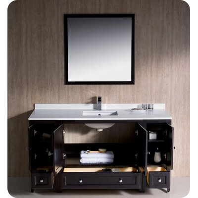 Oxford 60 Single Traditional Bathroom Vanity Set with Mirror Base Finish: Espresso