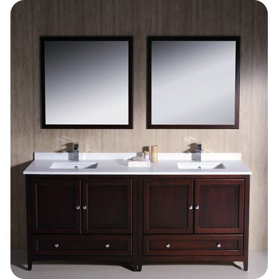 Oxford 72 Double Traditional Bathroom Vanity Set with Mirrors Base Finish: Mahogany