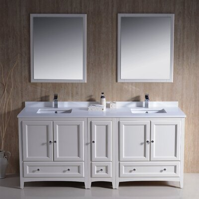 Oxford 72 Double Traditional Bathroom Vanity Set with Mirrors Base Finish: Antique White