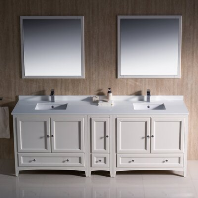 Oxford Traditional 84 Double Bathroom Vanity Set with Mirror Base Finish: Antique White