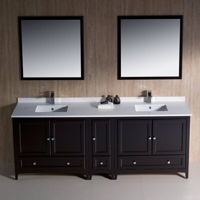 Oxford Traditional 84 Double Bathroom Vanity Set with Mirror Base Finish: Espresso